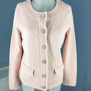 Talbots light Pink Knit Cardigan sweater L cotton